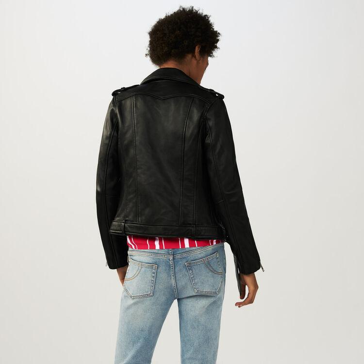 Blouson en cuir Bubble avec ceinture : Blousons couleur Black