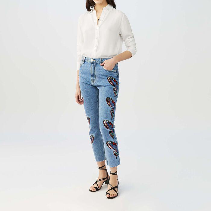 Jean droit avec broderies papillon : Jeans couleur Denim