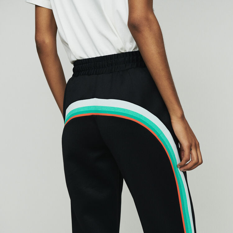 Sport pants with contrasting side bands : Trousers & Jeans color Black