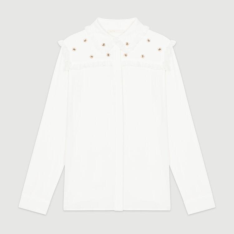 Chemise avec abeilles brodées : Chemises couleur Blanc