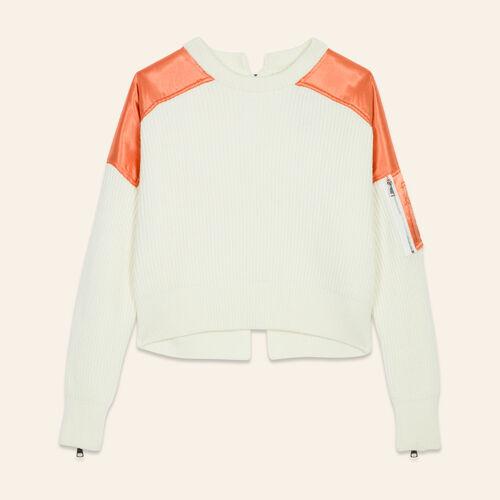 Pull avec empiècements en Nylon : Pulls & Cardigans couleur ECRU