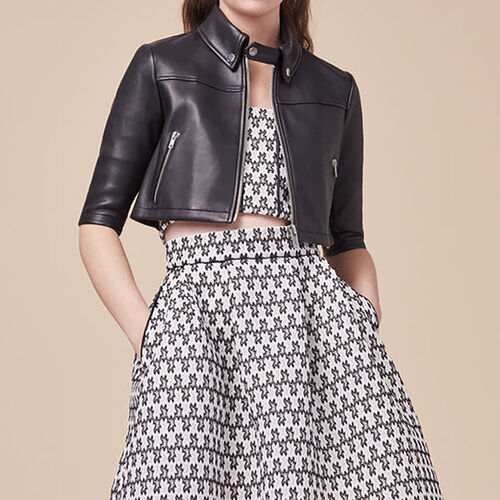 Cropped leather jacket : See all color Pink