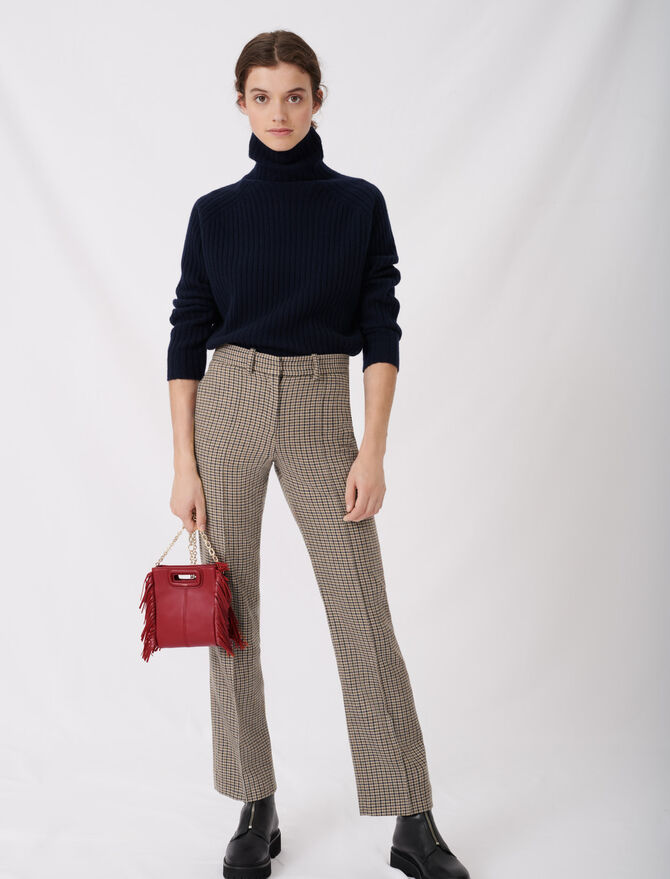 Straight cut checked trousers - tout - MAJE