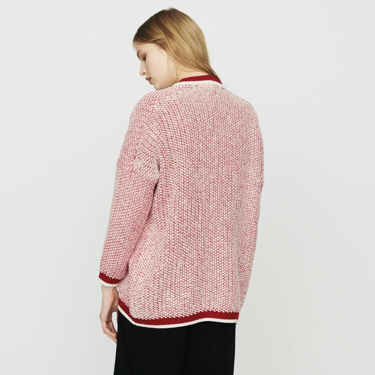 Cardigan mi-long en maille bicolore : Maille couleur Rouge