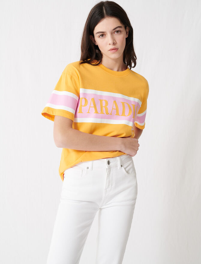 "T-shirt sérigraphié ""Paradise"" - T-Shirts - MAJE"
