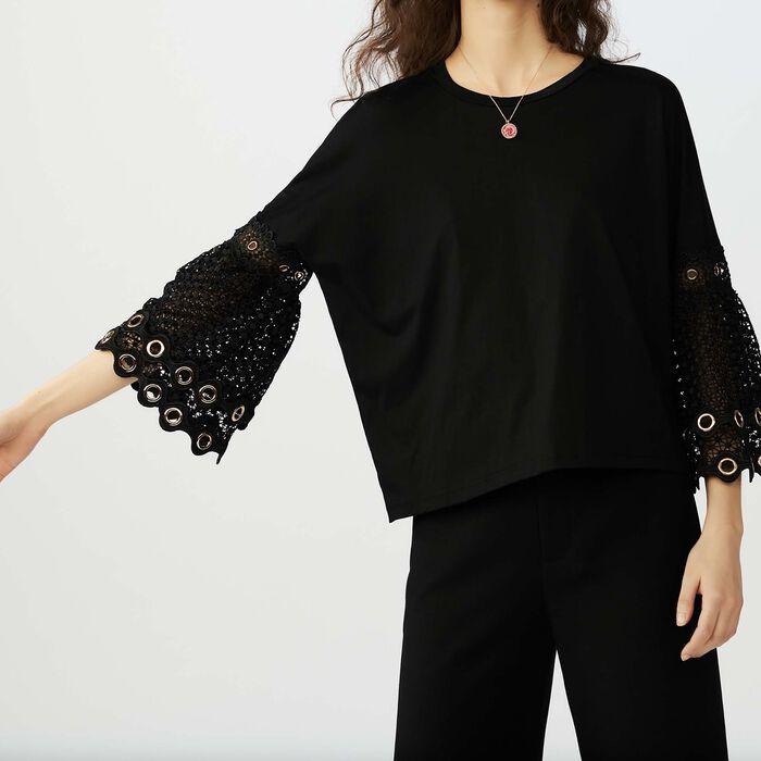 Tee-shirt avec manches en guipure : T-Shirts couleur Black