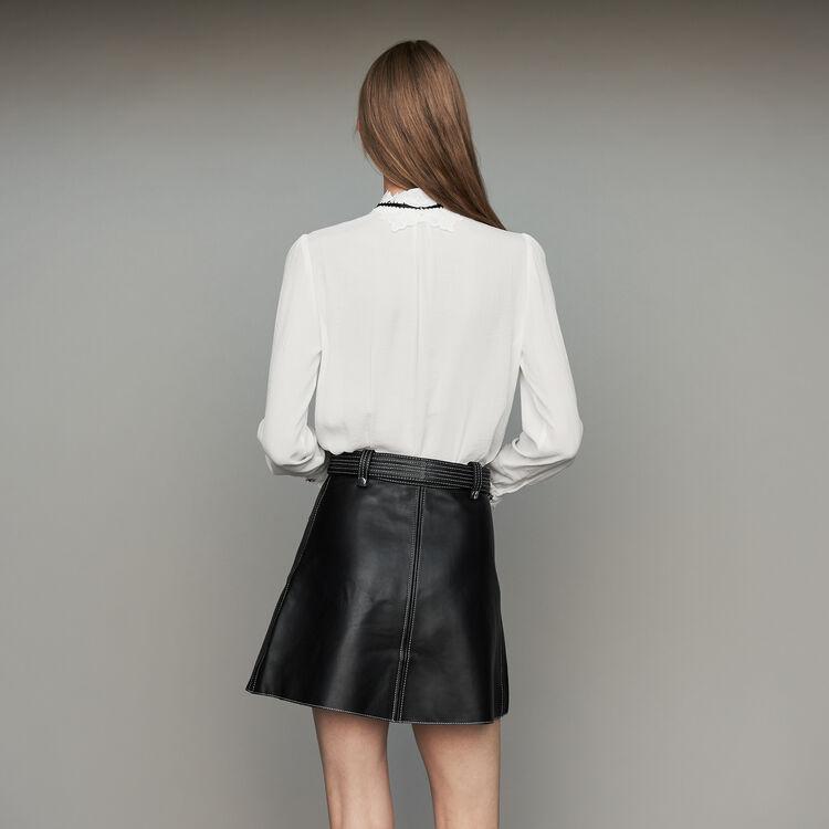 Chemisier avec détails en guipure : Prêt-à-porter couleur Blanc