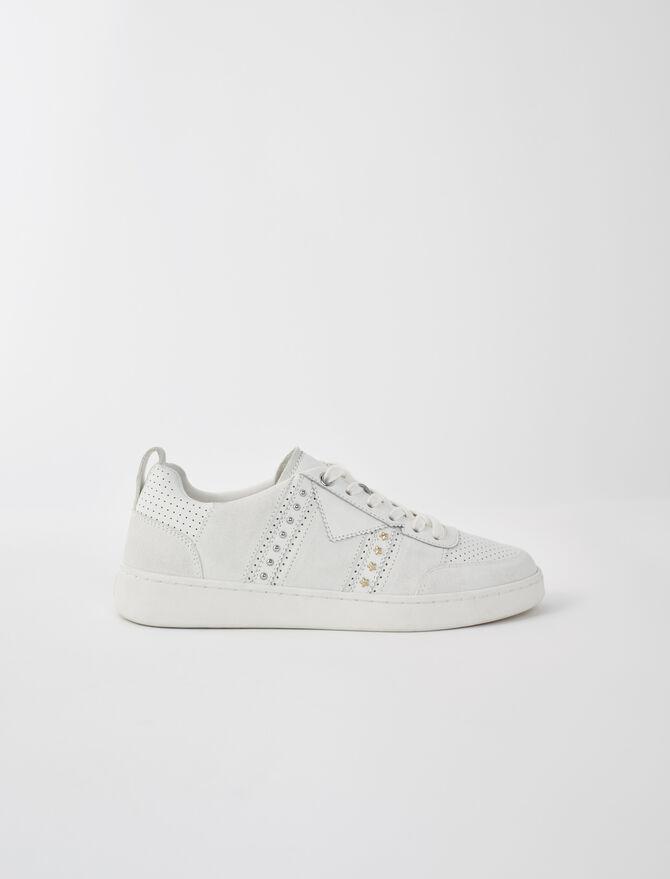 Baskets cuir blanches studées - Toutes les chaussures - MAJE