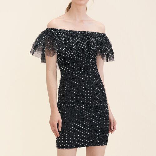 Polka-dot draped dress : Winter Collection color Black 210