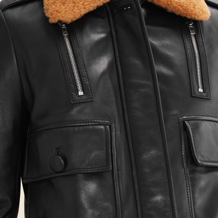 Blouson en cuir esprit aviateur : Blousons & Vestes couleur Black