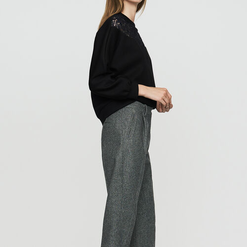 Pantalon à pinces en laine mélangée : Office girl couleur Gris