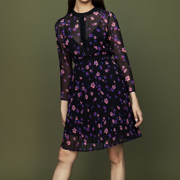 Robe imprimée avec jupon plissé : Robes couleur IMPRIME