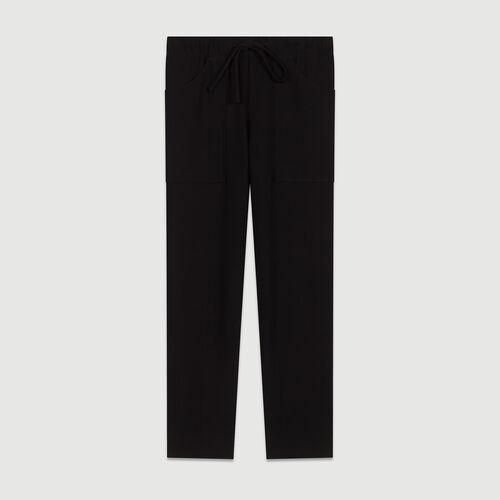 Pantalon large en crêpe : Pantalons couleur MARINE
