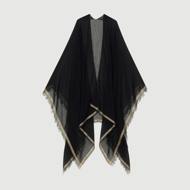 Poncho avec bandes en Lurex : Châles & Ponchos couleur BLACK