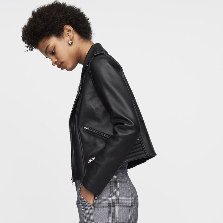 Blouson en cuir : Cuir couleur Black