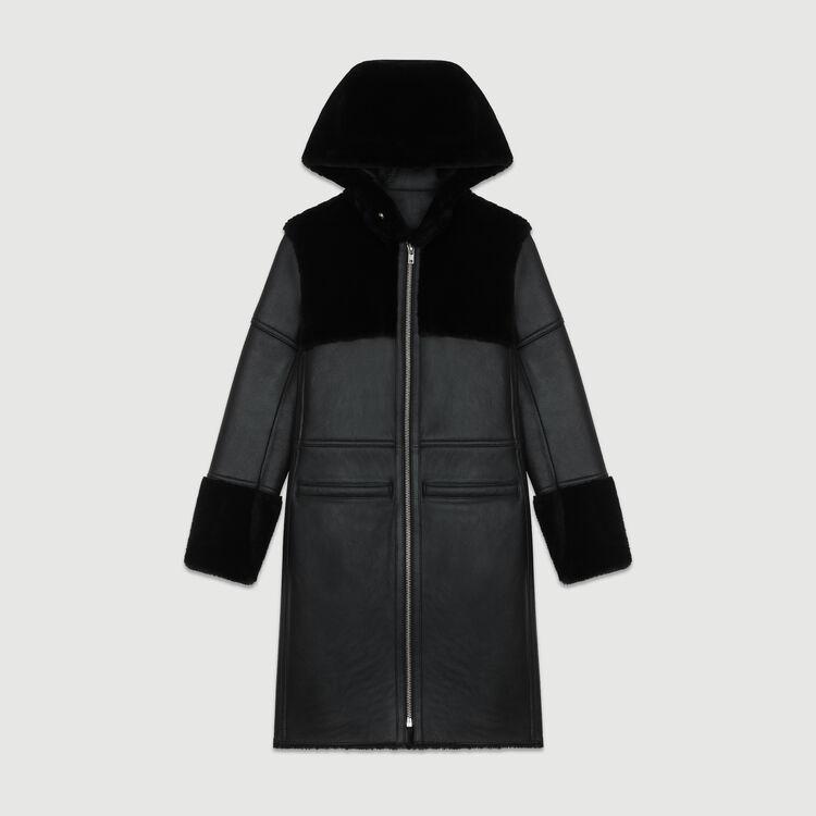 Peau lainée longue avec jeu de matières : Manteaux couleur Black
