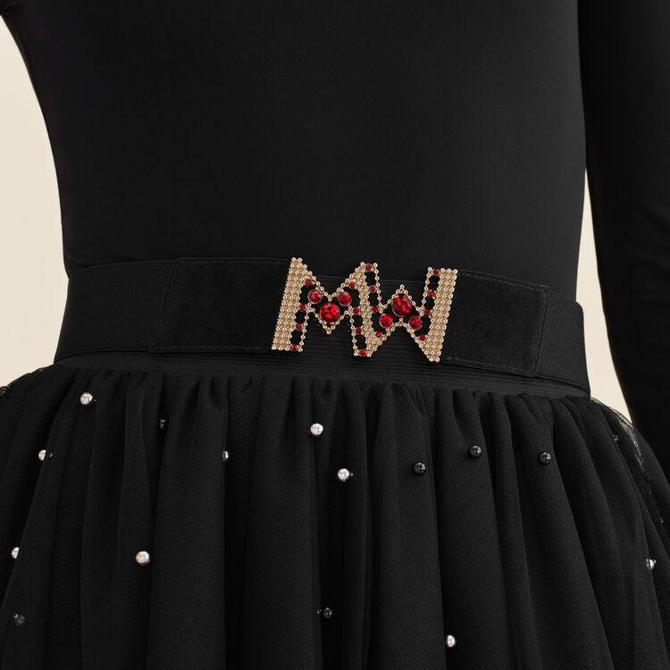 Jupe courte en tulle avec perles : Jupes & Shorts couleur Black