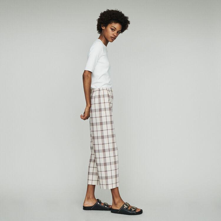 Pantalon jambe large à carreaux : Pantalons couleur CARREAUX