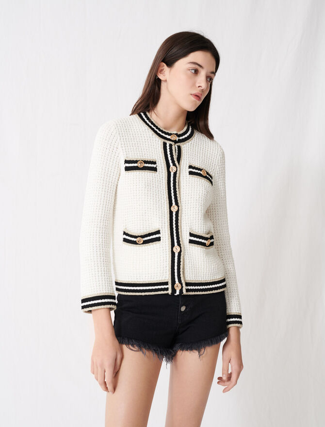 Knit cardigan with contrasting bands - Pullovers & Cardigans - MAJE