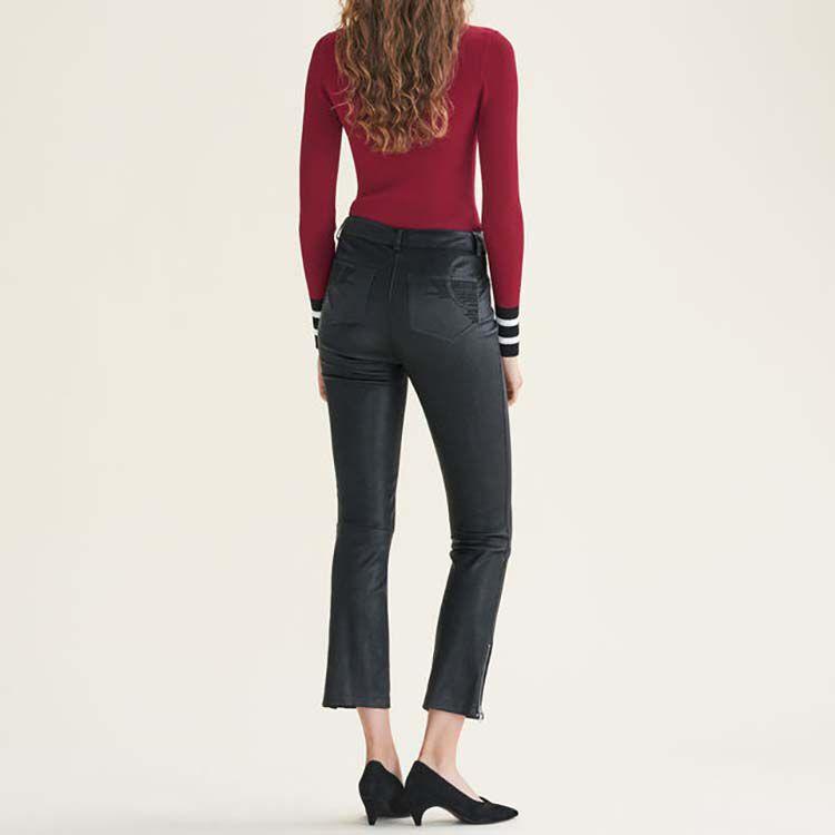 Pantalon en cuir à détails zippés : Pantalons & Jeans couleur Black