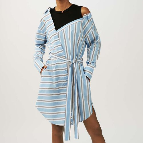 Oversized shirt dress with striped : Dresses color Blue Sky