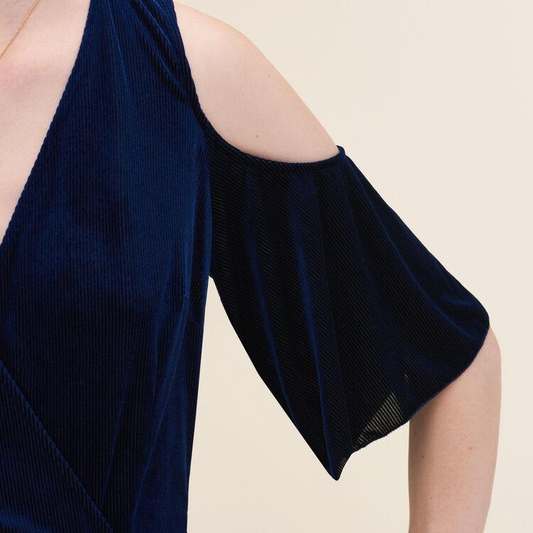 Robe plissée avec épaules dénudées : Robes couleur Nuit