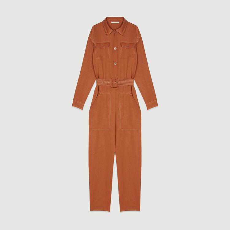 Combi-pantalon chemise : Pantalons & Jeans couleur Terracotta