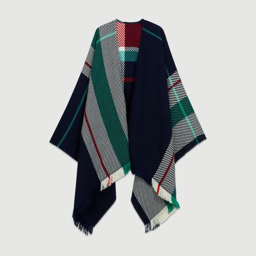 Poncho à motif carreaux : Châles & Ponchos couleur BLEU