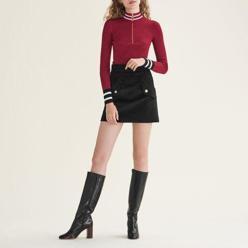 Pull court en côte anglaise : Pulls & Cardigans couleur BORDEAUX