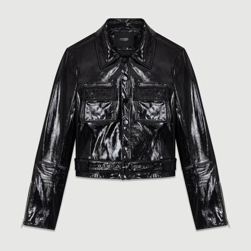 Veste courte en cuir vinyle : Cuir couleur BLACK