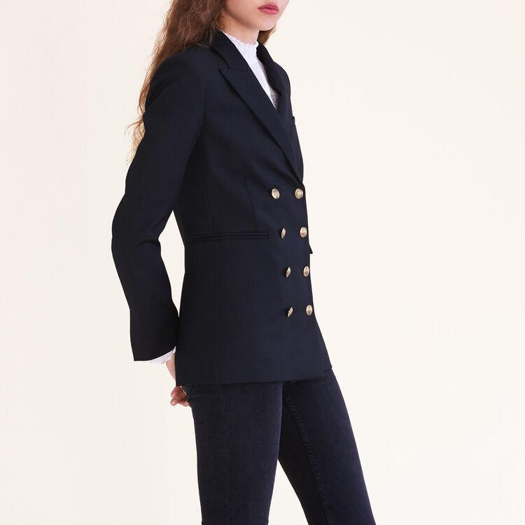 Veste croisée à huit boutons : Blousons & Vestes couleur Black