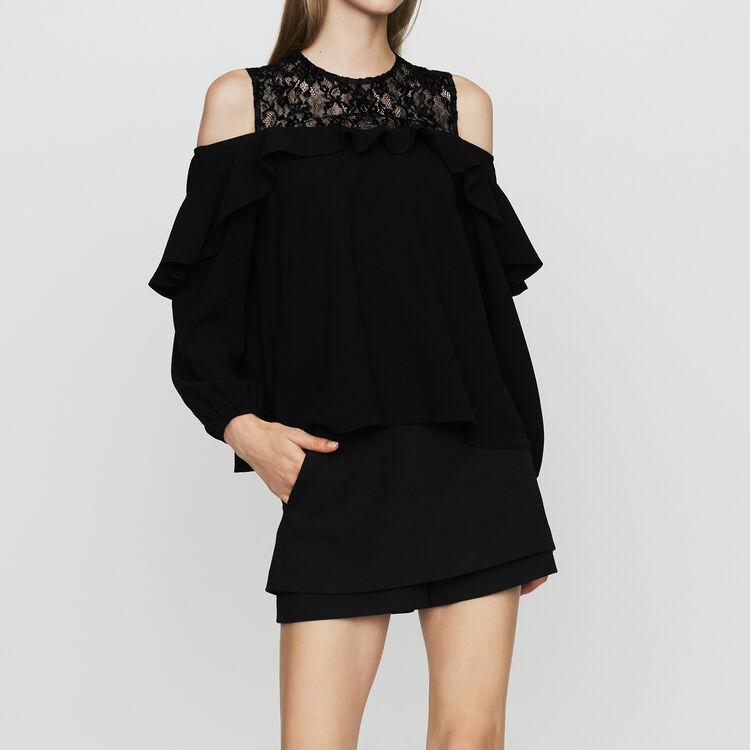 Top en crêpe et dentelle velours : Prêt-à-porter couleur Black