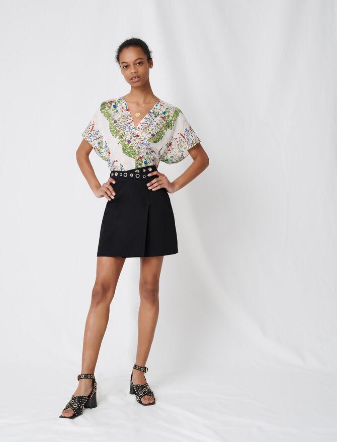 Wrap mini skirt with eyelets - Skirts & Shorts - MAJE
