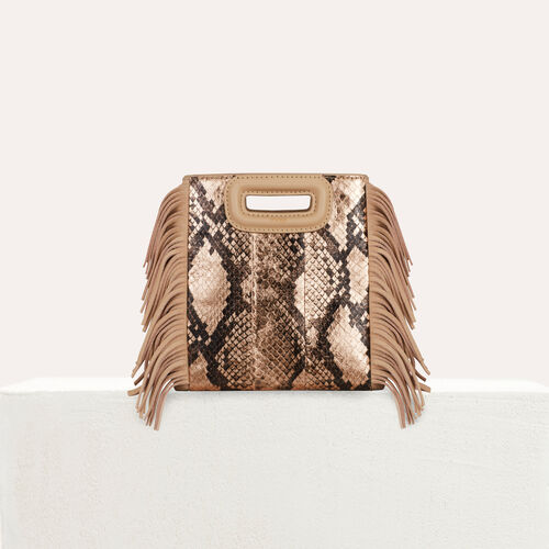 Mini M bag in python leather : M Mini color Beige