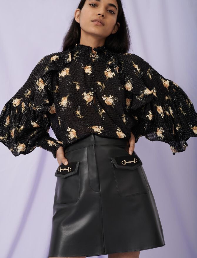 Flared leather skirt and horsebit detail -  - MAJE