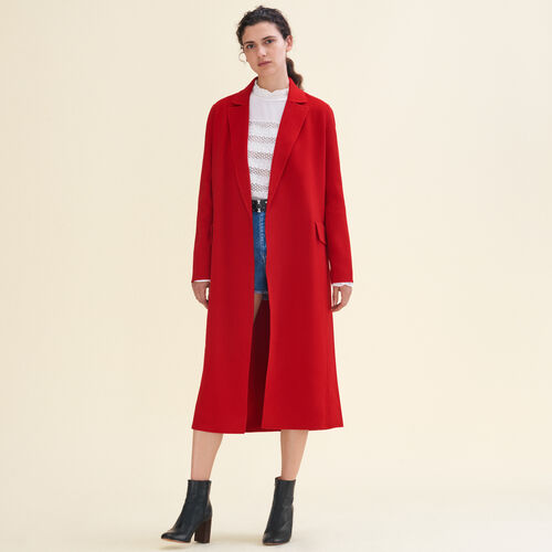 Manteau long en laine double face : Manteaux couleur Rouge