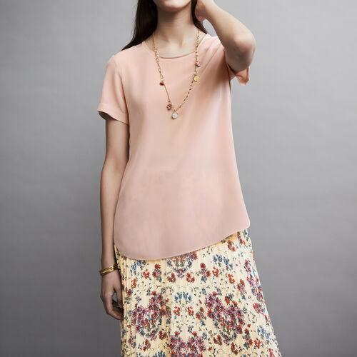 Top en soie avec col rond : Tops couleur Rose Pale
