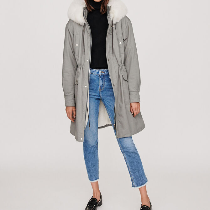 Oversized lined parka with hood - See all - MAJE