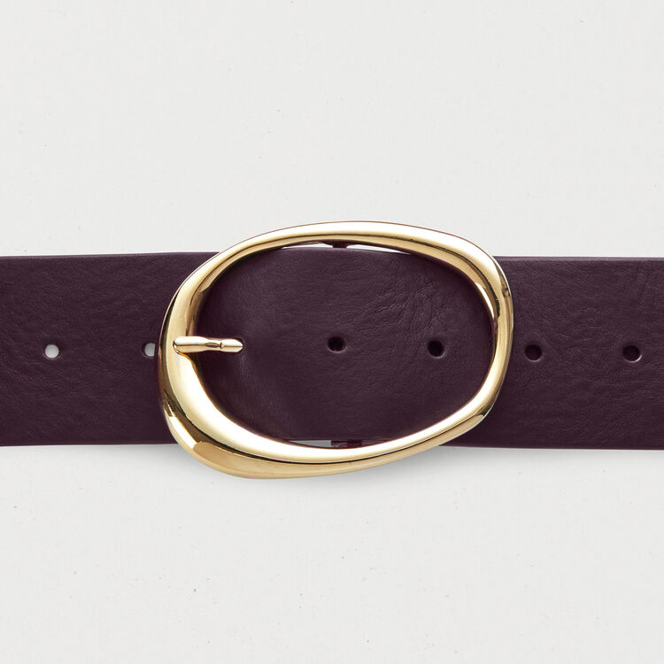 Large ceinture en cuir : Bordeaux couleur BORDEAUX