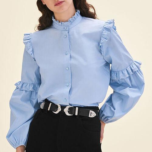 Chemise en popeline avec volants : Tops couleur Bleu