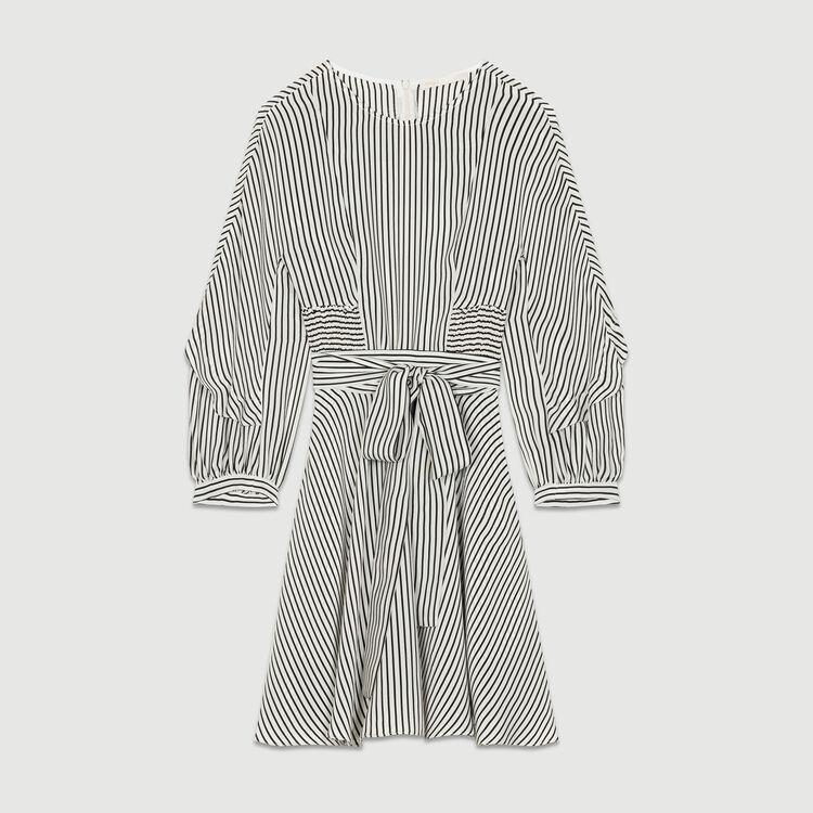 Robe ceinturée à rayures : Robes couleur Rayure