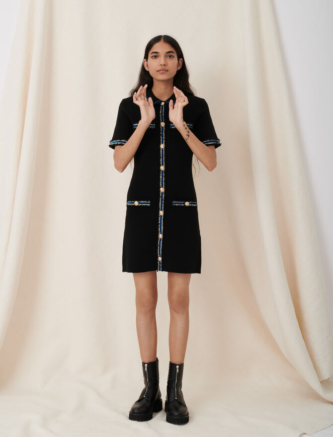 Knitted dress with velvet details - Ready to wear - MAJE