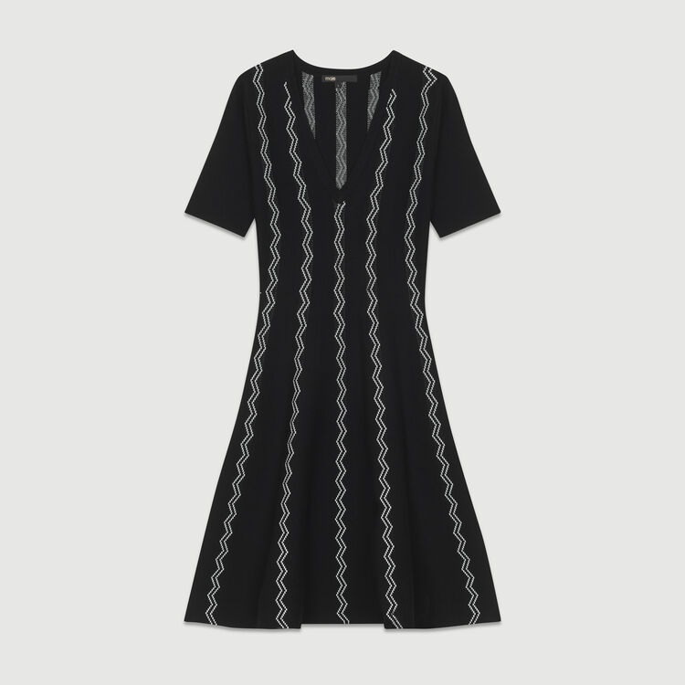 Robe en maille jacquard : Robes couleur Black