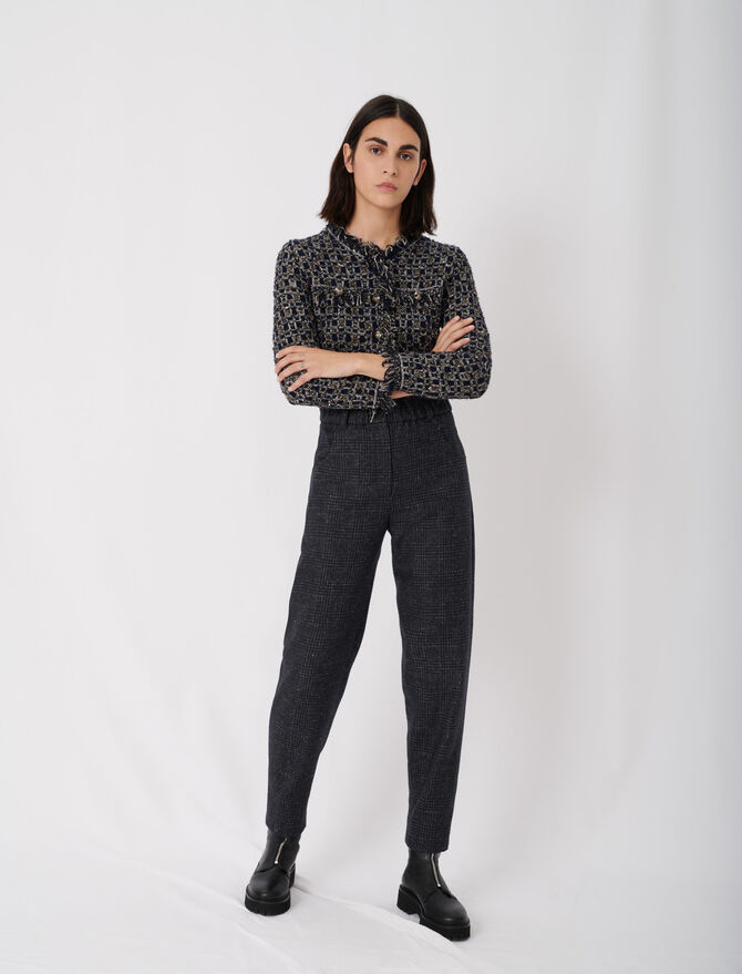 Checked trousers in recycled wool - New collection - MAJE
