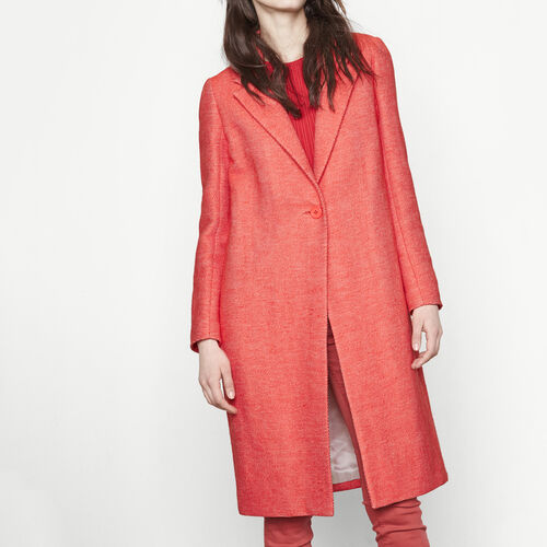 Long woven fabric coat : Coats color Orange