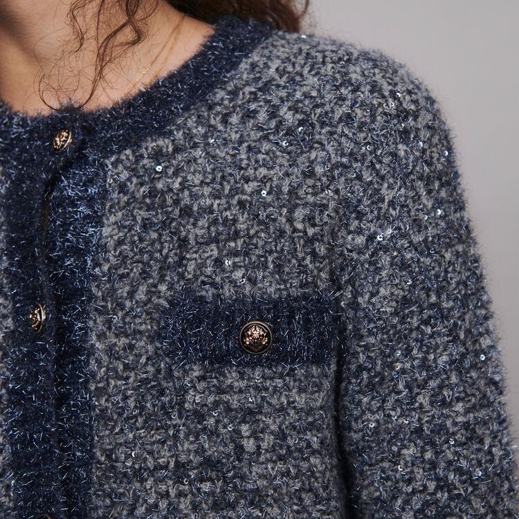 Cardigan en maille fantaisie Lurex : Pulls & Cardigans couleur Bleu