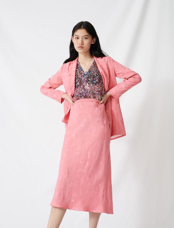 Satiny jacquard maxi dress - All the collection - MAJE