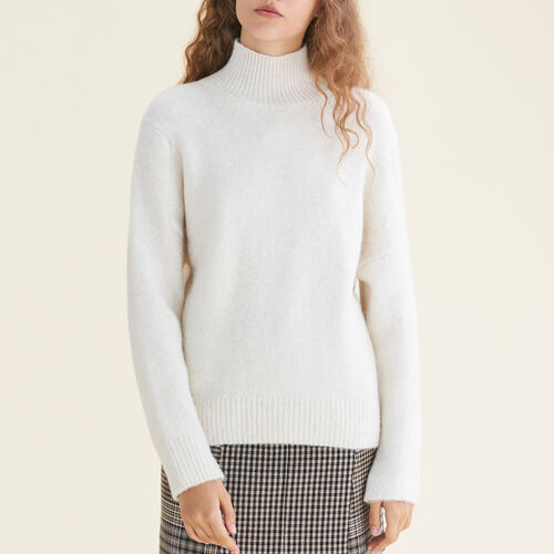 High neck jumper : Sweaters & Cardigans color Ecru