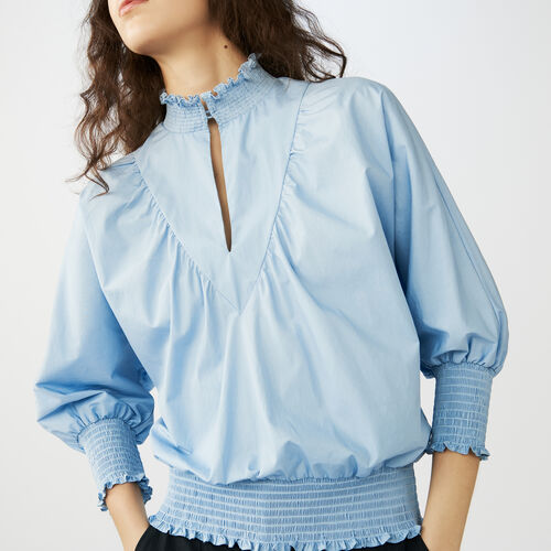 Smocked cotton poplin blouse : Tops color Blue