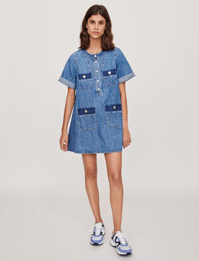 Short jean dress with short sleeves -  - MAJE